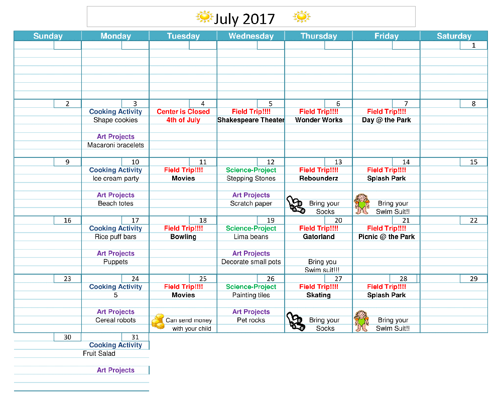 New July 2017-summer camp calendar - ACA